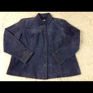 Coldwater Creek 100% Suede Leather Jacket Blue 2X